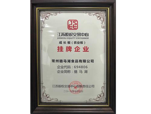 江苏股权交易中心成长版挂牌证书
